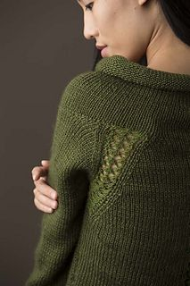 Lace Insert Pullover by Deborah Helmke ~ a bottom-up and knit in Aran 10ply..... great neckline and lovely feminine detailing