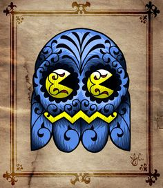 Pac-Man Sugar Skull. I'd get this as a tattoo, but with my own variations. But still love this!!