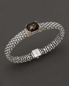 Lagos 18K Gold and Sterling Silver Prism Smoky Quartz Rope Bracelet