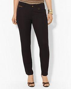 Lauren Ralph Lauren Plus Slim Cotton Ankle Pants | Bloomingdale's $95