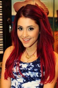 Ariana Grande 's hair is like the color of red velvet haha no joke