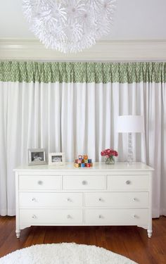 From home office to chic nursery with customized Ikea drapery!