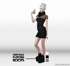 Grayscale platform boots at CallieV Plays • Sims 4 Updates