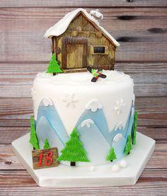 Ski Chalet Cake using Fmm's 'More Than A Bird House' cutter set