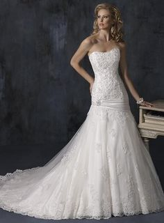 Organza A-line/princess Embellished Lace Wedding Dress