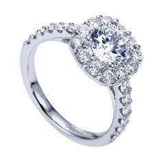Style ER8263W44JJ 14K White Gold Contemporary Halo Engagement Ring TDW: 0.2 carats