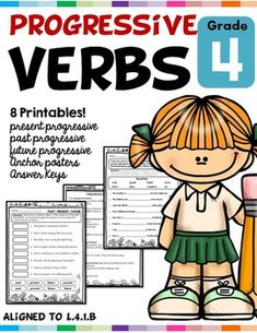 Progressive Verb Tenses L.4.1.B Worksheets Distance Learning | TpT