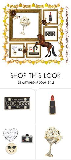 """""""La tendance des pins par Studio-Stiletto"""" by studiostiletto on Polyvore featuring mode, Chanel, Georgia Perry, Design Lab, Polaroid et Marc Jacobs"""