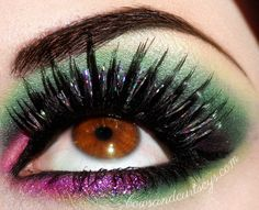 """""""Enticing Enchantment"""" (Oct 5 2012) by bowsandcurtseys. --  """"Once Upon a Time"""" (tv show) inspired.  Wet N Wild Fantasy Makers """"Bewitching Eyes"""" Hologram Lashes #makeuplooks  #eyemakeup #lashes #browneyes #makeup"""