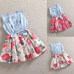 Fashion Family Matching Dress New Daughter Mother Sleeveless Cotton Floral Sundress Casual Family Matching Dresses Dress With Bow, The Dress, Baby Dress, Dress Girl, Fashion Kids, Denim Fashion, Party Rock, Girls Party Dress, Girls Dresses