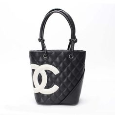 CHANEL Small Totebag  Cambon Handle bags Black Leather A25166