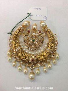 Traditional pearl nakshi work peacock pendant from Sri Balaji Jewellers. For inquiries, contact 090003 Wedding Jewellery Inspiration, Indian Wedding Jewelry, Bridal Jewelry, Indian Jewelry, Gold Earrings Designs, Gold Jewellery Design, Gold Jewelry, Antique Jewellery, Diamond Jewellery