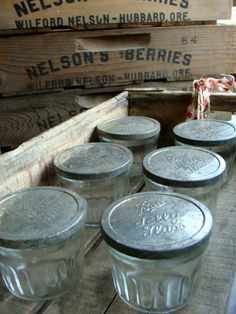 1920s Antique Extra Large Jelly Jar With Tin Lid Makes A Wonderful Button Jar
