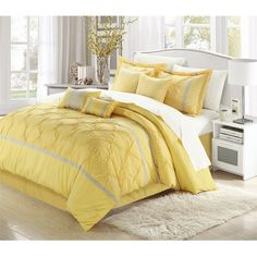 Vermont Yellow & Grey 12 Piece Embroidered Comforter Bed In A Bag Sheet Set