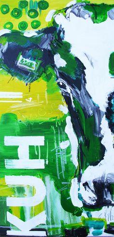 """Original Acrylmalerei auf Leinwand    Das hier angebotene Werk stammt aus der Serie *""""KÜHE CODIERT""""*.  Das Original ist 40 x 60 cm    Im Atelier von S"""