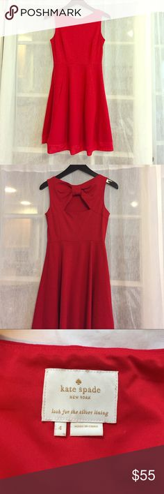 Kate Spade Red Sleeveless Bow Back Dress This is a great dress for casual or formal wear. It is part elastane so it is very stretchy and comfortable. Size 4 kate spade Dresses