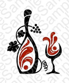 Wine Bottle and Glass SVG and DXF Cut Files