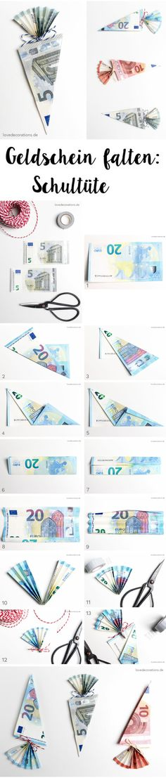 Folding DIY bank note: school bag and devil& stuff called Alko .- DIY Geldschein falten: Schultüte und Teufelszeug namens Alkohol – Modern Fold DIY banknote: school bag and devil& stuff called alcohol - Diy Gifts For Christmas, Diy Gifts For Kids, Presents For Kids, Diy For Kids, Don D'argent, Folding Money, Love Decorations, Valentine Decorations, Diy Bags Purses