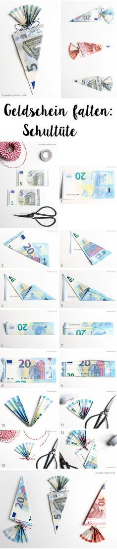 Geldschein falten: Schultüte // Folding money: School Cone