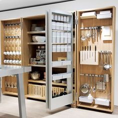 "Restaurant Kitchen Organization Ideas storage system for a 36"" wide pantry cabinet. 