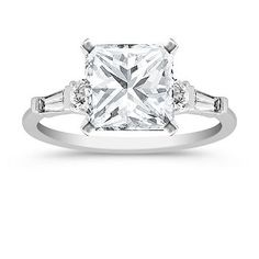 Three-Stone Baguette and Round Diamond Engagement Ring with Princess Cut  Diamond