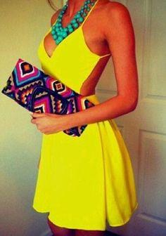 Yellow Plain Condole Belt Tie Back Plunging Neckline Backless Dress
