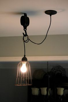 Tutorial diy vintage style pulley light pinterest pulley light before and after kitchen pendant light aloadofball Image collections