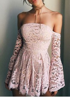 Sweet Pink Lace Off The Shoulder Homecoming Dress,Long Sleeves Mini Homecoming Graduation Dress,Strapless Short Prom Dress, Homecoming Dress - Vestidos Short Strapless Prom Dresses, Long Sleeve Homecoming Dresses, Tight Prom Dresses, Prom Party Dresses, Dress Long, Dresses For Graduation, Elegant Dresses, Dress For Party, Dresses Dresses