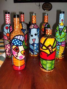 Bottle art Glass Bottle Crafts, Wine Bottle Art, Painted Wine Bottles, Wine Art, Glass Painting Designs, Altered Bottles, Art N Craft, Stained Glass Projects, Bottle Painting
