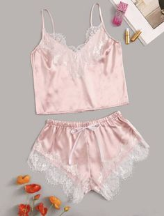 Lace Satin Cami With Shorts Floral Lace Satin Cami With Shorts - Popviva Cute Pajama Sets, Cute Pajamas, Pajamas Women, Cute Sleepwear, Lingerie Sleepwear, Lingerie Underwear, Nightwear, Ropa Interior Babydoll, Night Outfits