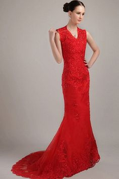 Formal Floor-length V-neck Party/Wedding Zipper Tulle Sleeveless Mermaid Sweep Evening/Graduation/Prom Appliques Train Party Red Elegant/Modern Evening Dress Cheap Graduation Dresses, Red Homecoming Dresses, Cheap Prom Dresses, Bridal Dresses, Bridesmaid Dresses, Mermaid Evening Dresses, Evening Gowns, Silhouette, Party Dress