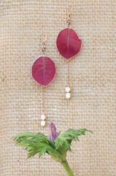 Fuchsia Bougainvillea Pressed Flower Petal Earrings with Butter Pecan Czech Glass Beads