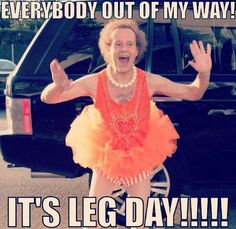 OMGeezie. Everybody out of my way!  It's leg day.  Richard Simmons.
