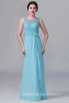 Pastel blue lace and chiffon elegant bridesmaid dress. Sleeveless illusion lace top wrap, jewel neckline, sweetheart lining, floor length A-line bridesmaid dress. Lace Bridesmaids Gowns, Affordable Bridesmaid Dresses, Short Bridesmaid Dresses, Prom Dresses, Formal Dresses, Wedding Dresses, Lace Wedding, Cheap Wedding Dress, Chiffon Dress