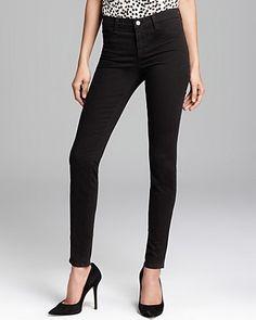 J Brand Jeans - Luxe Sateen 485 Super Skinny in Black | Bloomingdale's