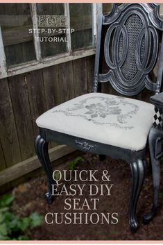 Wondering what to do with old, ugly or outdated dining room chairs? Use this tutorial for quick and easy DIY seat cushions. Seriously, this has to be one of the simplest updates you can do! Click through for a step by step tutorial on how to use Iron Orchid Designs Decor Stamps to upcycle your seat cushions. #DIYseatcushion #DIYHomeDecor #upcycle