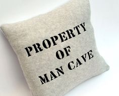 Gray Fleece Property of Man Cave Pillow by YellowBugBoutique, $35.00