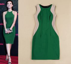 Morpheus Boutique  - Green Tan Color Block Sleeveless Pencil Celebirty Dress, $129.99 (http://www.morpheusboutique.com/green-tan-color-block-sleeveless-pencil-celebirty-dress/)