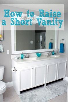Have a short builder grade bathroom  vanity, raise it up on the cheap!