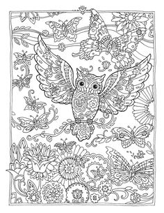 """Creative Haven Owls Coloring Book by Marjorie Sarnat, """"Butterfly Owl"""""""