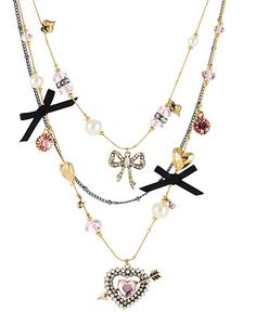 Betsey Johnson Necklace, Heart and Arrow Multi Charm Illusion Necklace