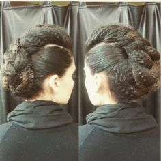 Crimped, braided faux hawk updo by Allie.