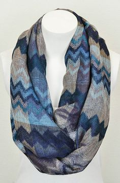 Navy Zigzag Infinity Scarf - I prefer the other kind of scarf to infinity but I really like this design