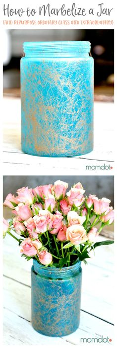 marbelizing a mason jar tutorial - How to Sea glass a Mason Jar, Marbelize a mason jar, and then turn it into the most beautiful vase you own (all from a regular glass one!) 5 minute DIY that will BLOW YOUR MIND. Plus bonus tutorial on how to make mom a photo serving tray