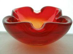 SMALL Marvelous MODERN Mid Century MURANO Art Glass BOWL or ASHTRAY Red AMBERINA