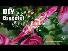 Make a Macramé Bracelet with Diamonds and Beads - Tutorial - YouTube