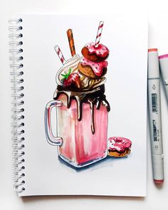 Marker + colored pencil instruction on vanilla arts - markers in art journa Copic Marker Art, Marker Kunst, Copic Art, Copic Markers, Realistic Drawings, Cute Drawings, Tumblr Art Drawings, Copic Kunst, Food Sketch