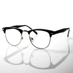 b18b8ce036 Amazon.com  grinderPUNCH® 80 s - Club  - Half frame Clear Lens Wayfarer -  Black  Clothing