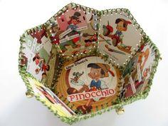 Paper Basket, Vintage Little Golden Book, Walt Disneys Pinocchio Old Book Crafts, Diy Arts And Crafts, Paper Crafts, Diy Crafts, Card Basket, Paper Basket, Christmas Card Crafts, Old Christmas, Old Greeting Cards
