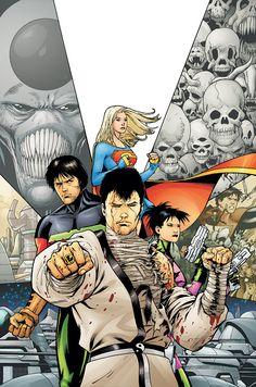 Supergirl, Ultra Boy, Atom Girl & Karate Kid by Barry Kitson Marvel Comics, Marvel Dc, Supergirl, Legion Of Superheroes, Comic Art Community, Dc Comics Characters, Girls World, Comic Character, Spider Man